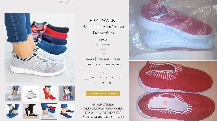 """As sapatilhas """"ortopédicas"""" que Marta comprou na """"A Pé nas Nuvens"""" eram iguais na forma às do site - mas o material desiludiu-a."""