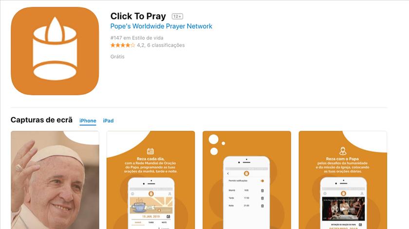 Click to Pray, na AppStore da Apple. Fonte: AppStore