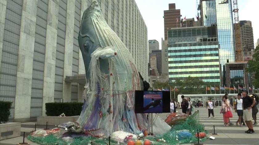 Escultura de baleia gigante alerta para poluição marinha