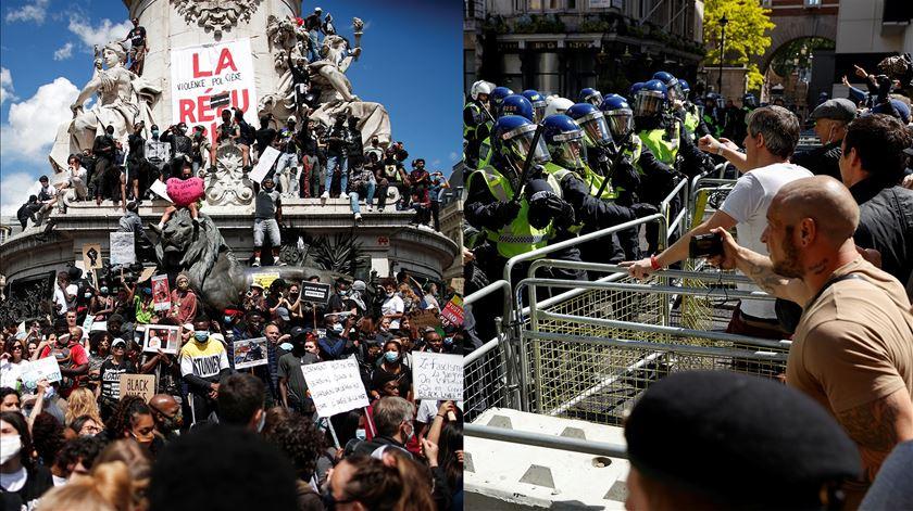 Confrontos entre polícia, extrema-direita e manifestantes antirracismo marcam ruas de Londres e Paris