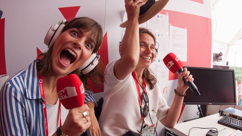 Benedita Pereira e Dalila Carmo no estúdio da RFM no Rock in Rio