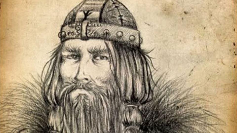 Harald Blatand, o rei de dente azul, aqui impossível de perceber porque usou o filtro sépia.