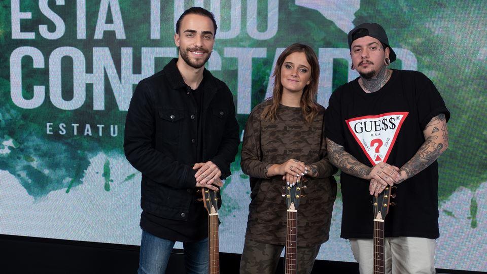 DIogo, Carolina e Agir com as 3 guitarras clássicas de madeira de árvores queimadas nos incêndios de Braga de 2017