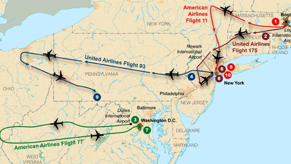 Rotas dos aviões envolvidos no 11 de setembro - Wikimedia Commons