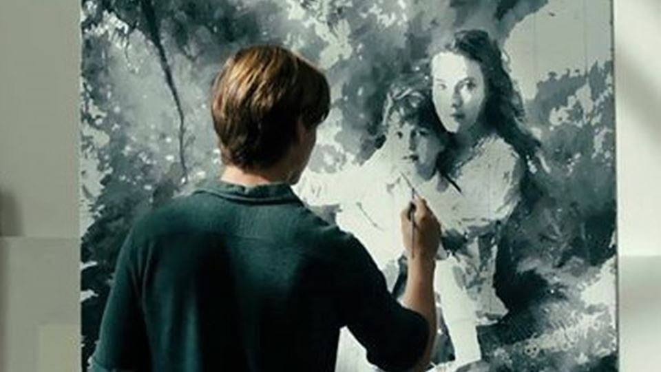 Kurt com a tia - pintura no filme