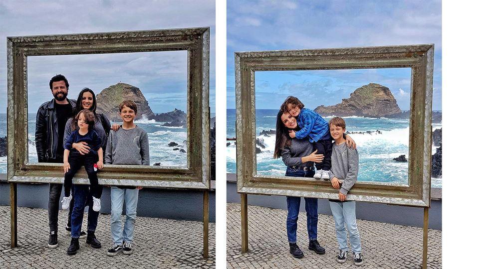 Rodrigo Gomes e família nas piscinas de Porto Moniz