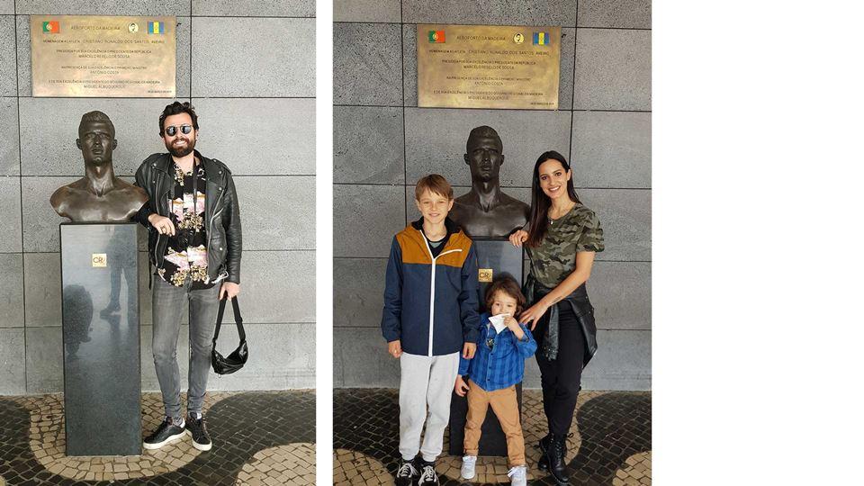 Rodrigo Gomes e família no aeroporto Cristiano Ronaldo